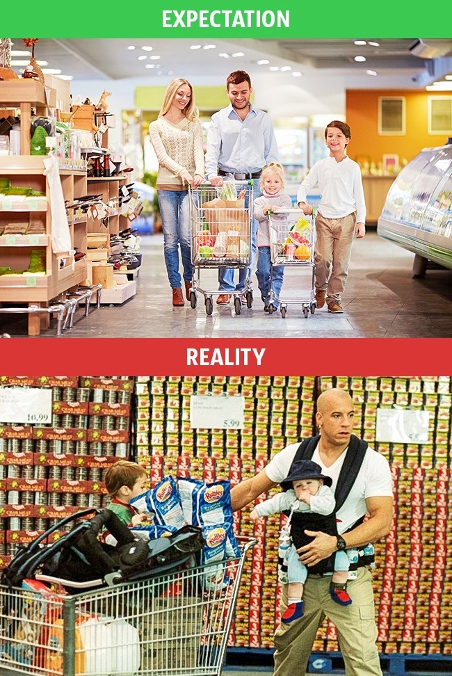 8- These Pics Perfectly Explains Family Life Expectation Vs Reality.!!